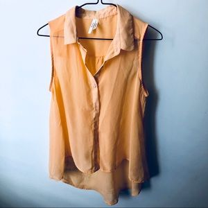 Orange sleeveless sheer button up top